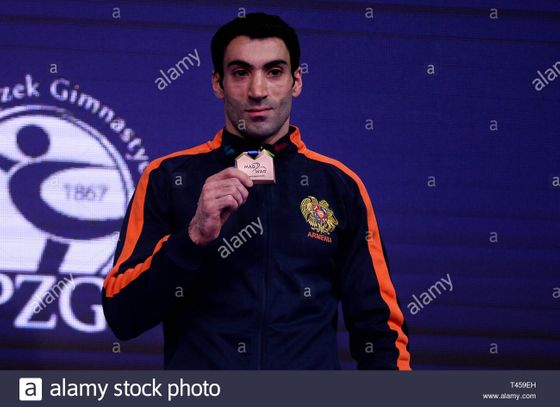 vahagn-davtyan-from-armenia-seen-with-bronze-medal-of-the-rings-final-during-apparatus-finals-of-8th-european-championships-in-artistic-gymnastics-day-4-T459EH